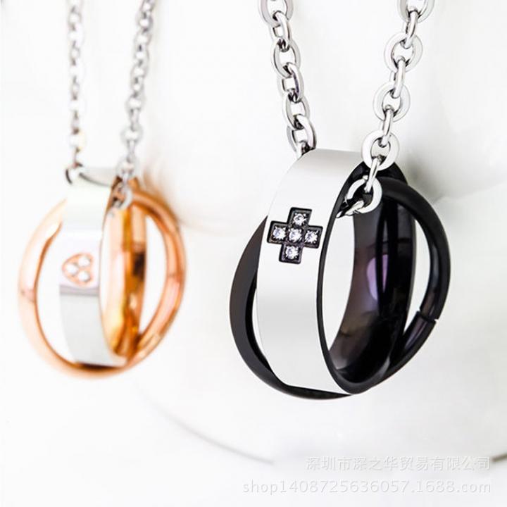 trend Jewelry Diamond Rose gold Titanium steel fashion Couple Pendant black one size