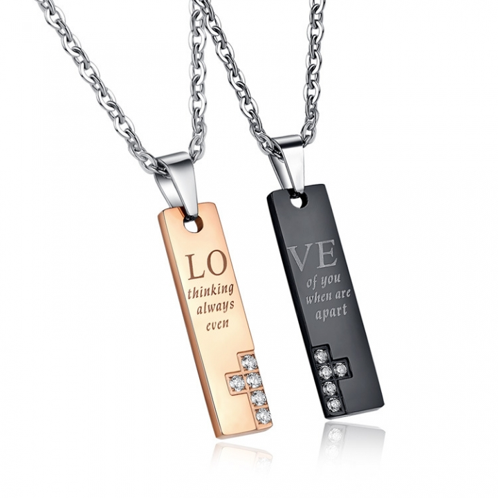 Valentine's Day Fine Gift LOVE Titanium Steel Couple Necklace Pendant gold ms one size