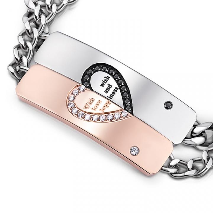 Valentine's Day Gift Send Girlfriend Heart Connected Couple Bracelet Titanium Steel  Jewelry black men one size