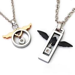 Personality Fashion Necklace Pure Steel Angel Wing Titanium Steel Couple Necklace black men one size