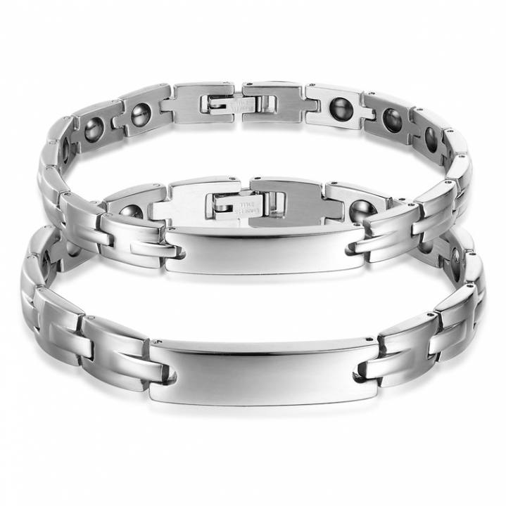 Fashion Accessories The New Personality energy Magnet Health Care Titanium Steel Couple Bracelet silver men