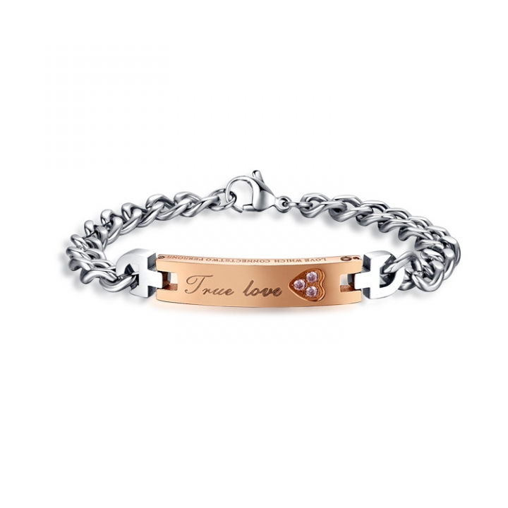 Creative Titanium Steel Male And Female Jewelry Set Magnet Bracelet Titanium Steel Couple Bracelet gold ms one size