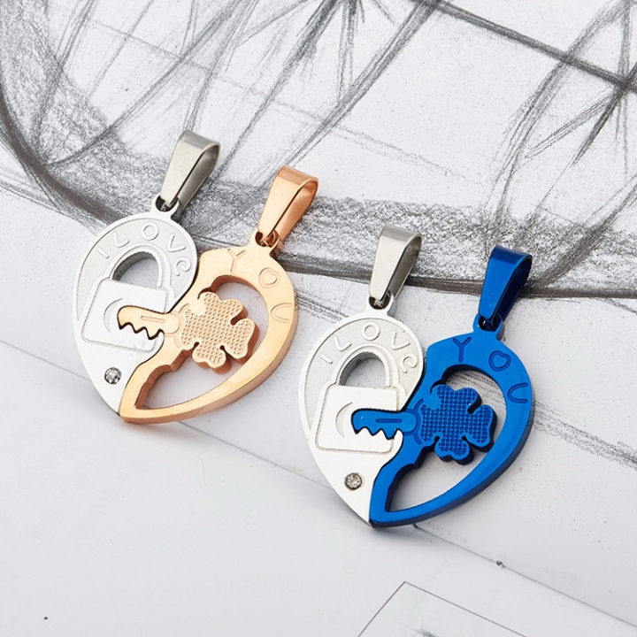 Blue Rose Gold Key Hardworking Pendant With chain Titanium Steel Couple Necklace blue one size