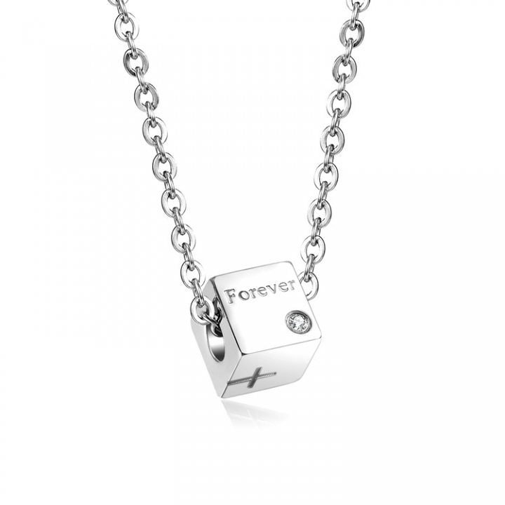 The New Couple Cube Square Pendant Titanium steel Couple Pendant silver Ms one size