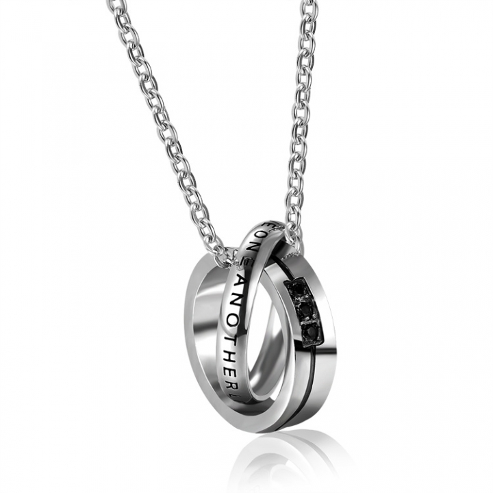 Valentine's Day gift Double ring Diamond personality Titanium steel Couple necklace black men one size