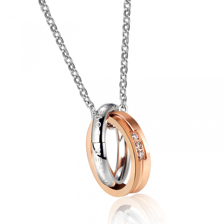 Valentine's Day gift Double ring Diamond personality Titanium steel Couple necklace gold ms one size