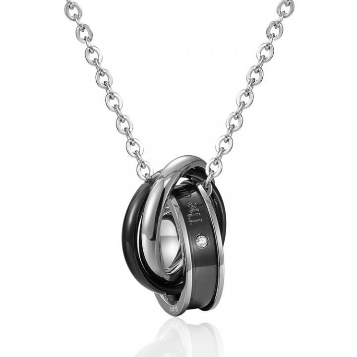 Fashion Accessories The New Fine Necklace Titanium Steel Couple Pendant black men one size