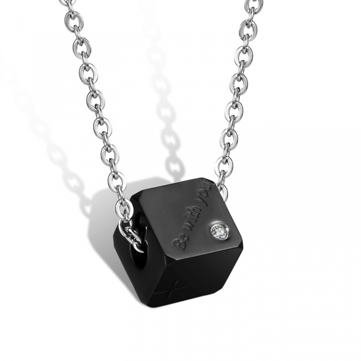 Fashion Accessories Square Titanium Steel Couple English Letter Necklace Cross Diamond black men one size