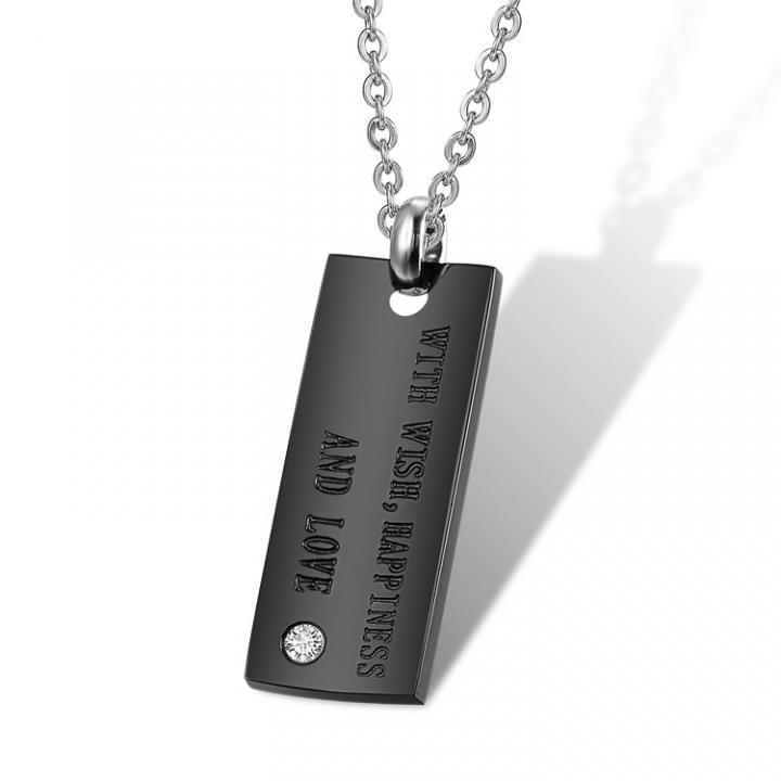 Fashion The New Jewelry Diamond Tag Titanium Steel Couple Necklace Couple Tag black men one size