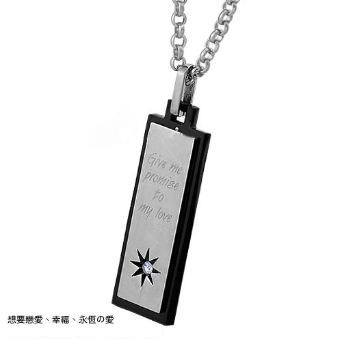Fashion The New Jewelry Rhinestones Star Square Card Pure Steel Titanium steel Couple Necklace black men one size