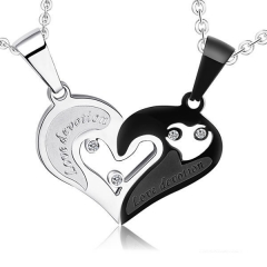Fashion Pure Steel Necklace Black And White With Love With it Titanium Steel Couple Necklace black white a pair