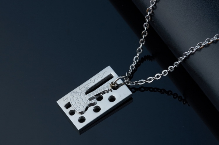 The New Creative Jewelry Fine Guitar Titanium Steel Couple Necklace silver men one size