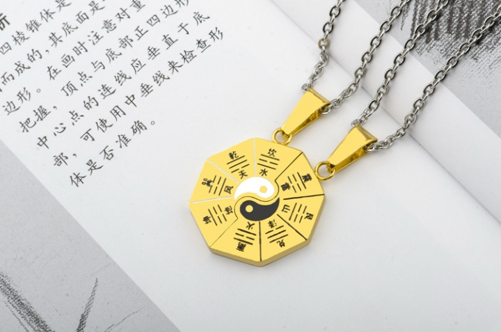 Chinese Style Retro Flattened Gossip Titanium Steel Necklace Couple Accessories Pendant gold a pair