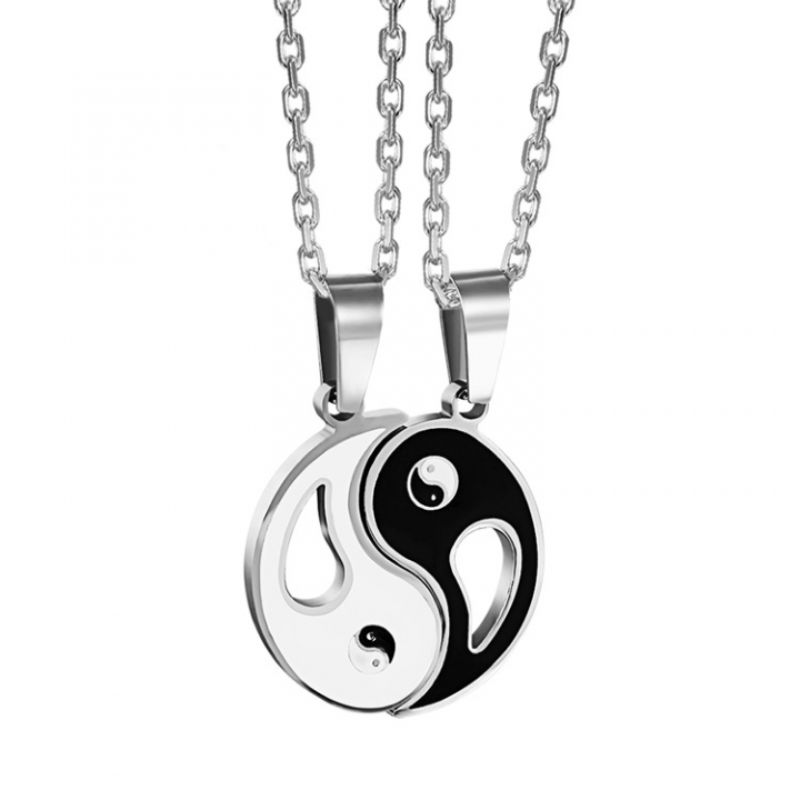 Stainless Steel Jewelry Couple Taiji Gossip Necklace Retro Classical folk-custom Pendant black white a pair