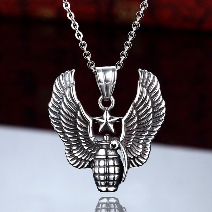 Personality Male Bombardment Expert Logo Military License Necklace Grenade Titanium Steel Pendant black one size