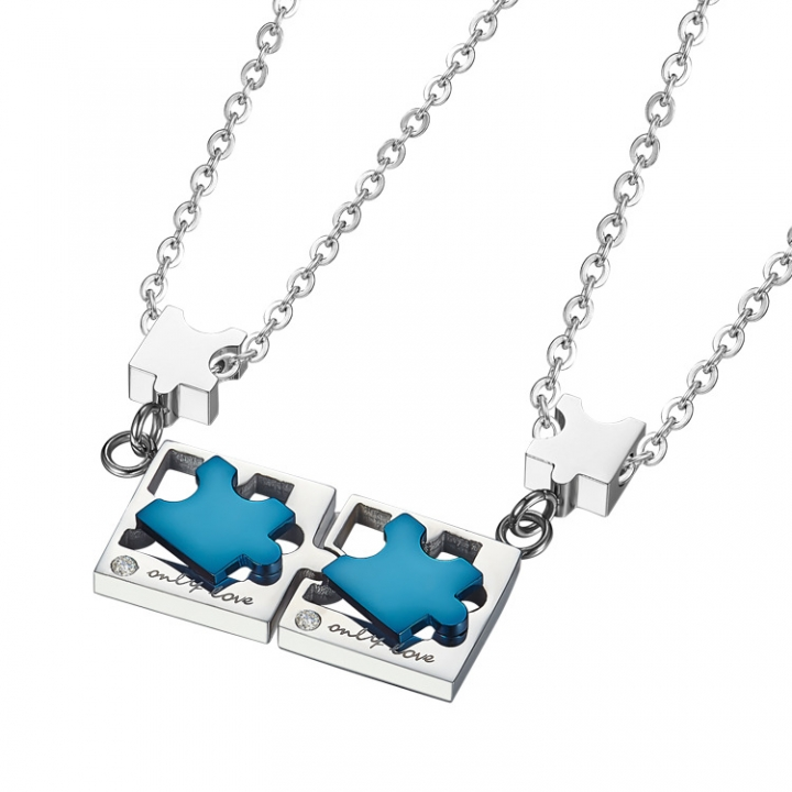 Valentine's Day gift Titanium Steel Couple Key Puzzle Necklace Pendant silver a pair