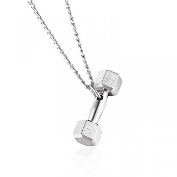 Fashion Dumbbells Barbell Pendant Bodybuilding Movement Titanium Steel Couple Jewelry silver men