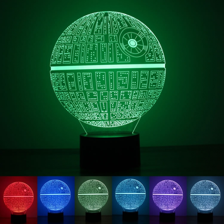 Rainbow Color 3D night Light Button USB Powered by Environmental Protection LED Star Wars Gift colorful light 216*172*88MM 1.5w
