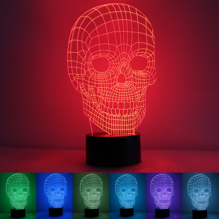 Skull Head 3D Creativity Colorful Night light USB Charge Acrylic led Small lamp colorful light 255*145*88MM 1.5w