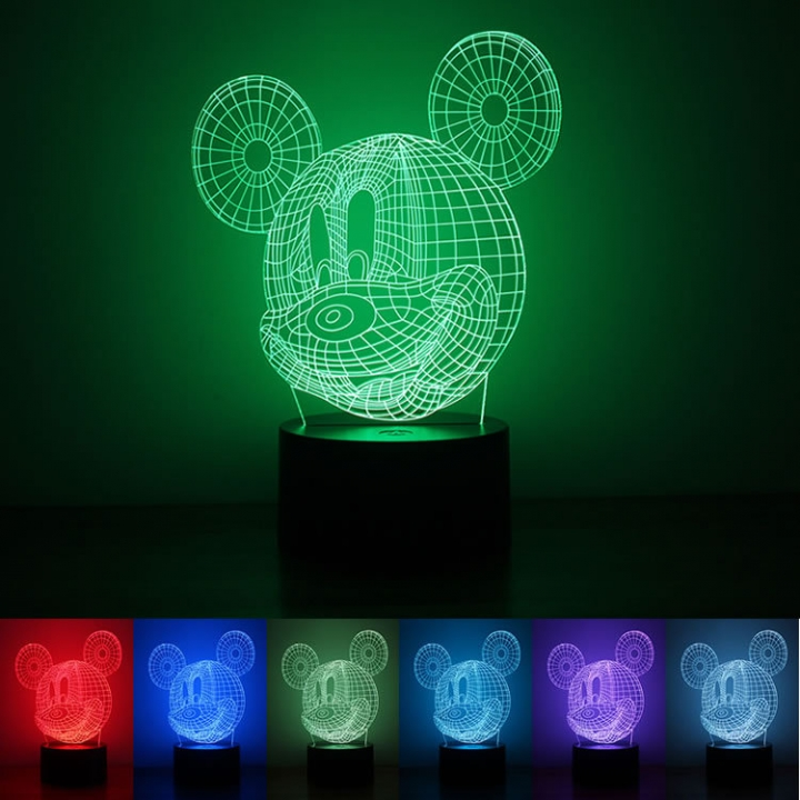 Mickey Night light USB Powered Button Type 3D Creativity Rainbow LED Lights colorful light 220*120*88mm 1.5w