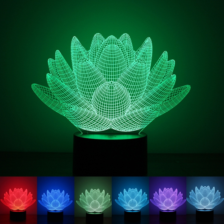 Neutral 3D Creativity Night light Lotus Acrylic LED  lights Button Type Home Colorful Lights colorful light 200*150*88MM 1.5w