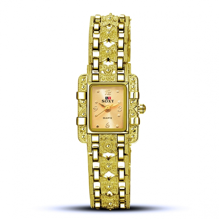 Ms Alloy Bracelet Quartz Female Watch Fashion Upscale Leisure Classic Watch gold