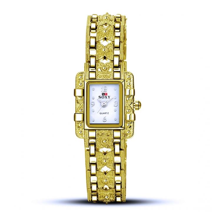 Ms Alloy Bracelet Quartz Female Watch Fashion Upscale Leisure Classic Watch gold white
