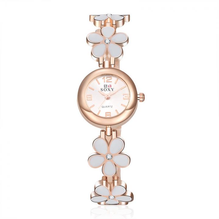 Ms Alloy Bracelet Watch Creative Clover Ms Fashion Quartz Watch white gold