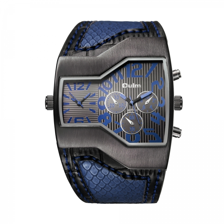 Men Belt Watch Dual movement movement Men waterproof Upscale Quartz watches blue men