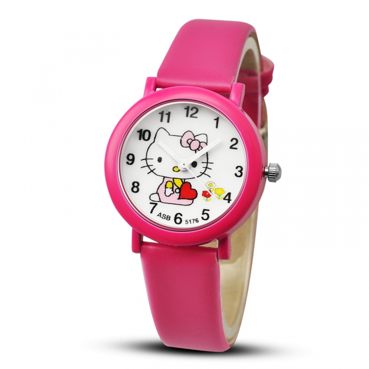 Hello kitty Girl Watch Candy Colors Belt Watch Fashion Child Electronic Watch rose red
