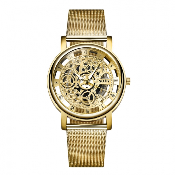 Men Mesh Belt Watch Men Hollow Upscale Trend Steel Strip Watch gold