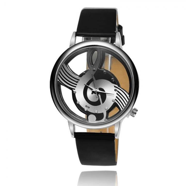 Hollow Dial Fashion Music Watch Ms Belt Watch Quartz Watches black