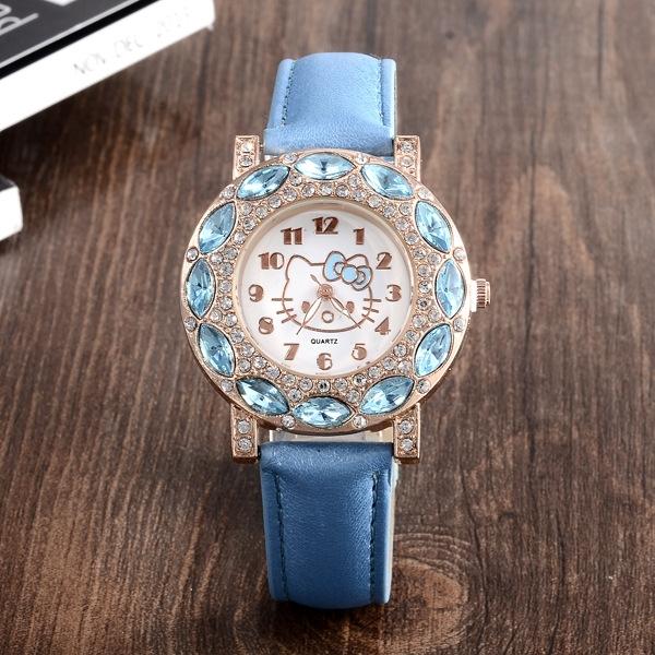 Ms Watch Fashion Diamond HelloKitty Ms Fashion Quartz Watch blue