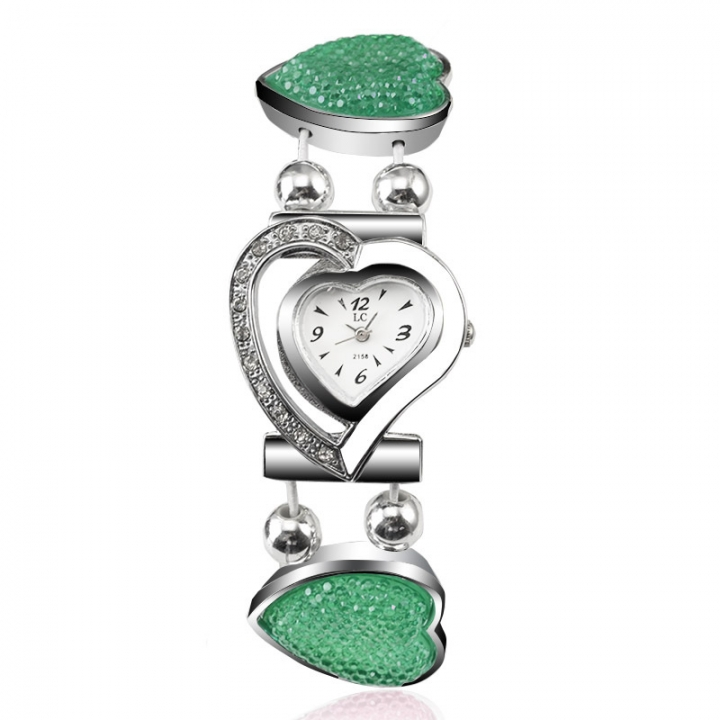 Ms Watch Creative With heart Ms alloy Bracelet student Hollow Watch green