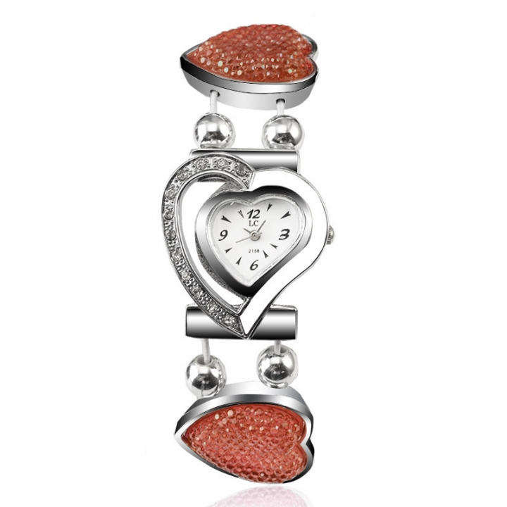Ms Watch Creative With heart Ms alloy Bracelet student Hollow Watch orange