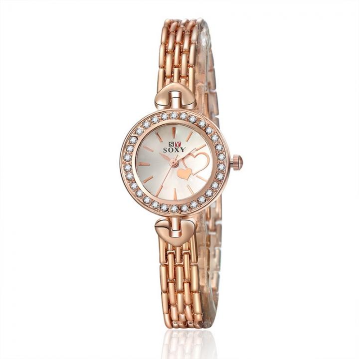 Ms Diamond Bracelet Watch Small size Dial Fashion Trend Quartz Watch rose gold