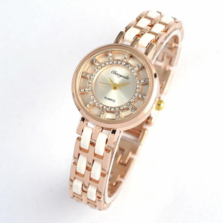 Diamond Double Circle Disc Ms Bracelet Watch Fashion Ceramics Watch gold white