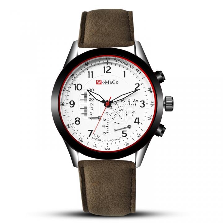 Men Upscale Belt Watch Creative Big Dial Fashion Quartz Watch gray white men