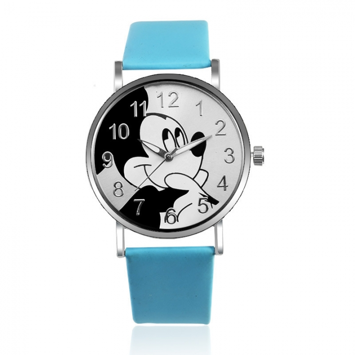 Fashion Hipster Mickey Mouse Belt Watch Student Cartoon Leisure Watch blue