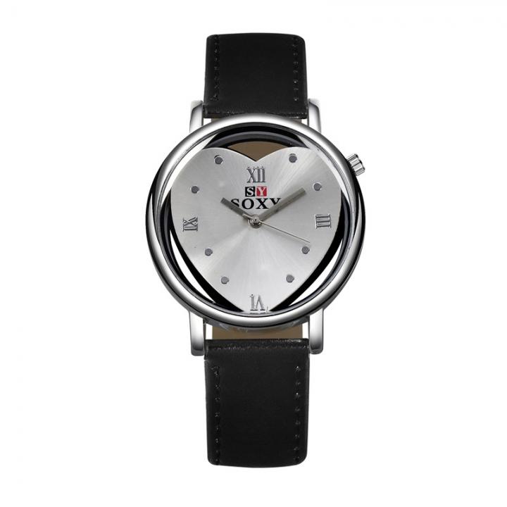 Fashion Ms Belt Watch Heart Dial Quartz Hollow Watch black