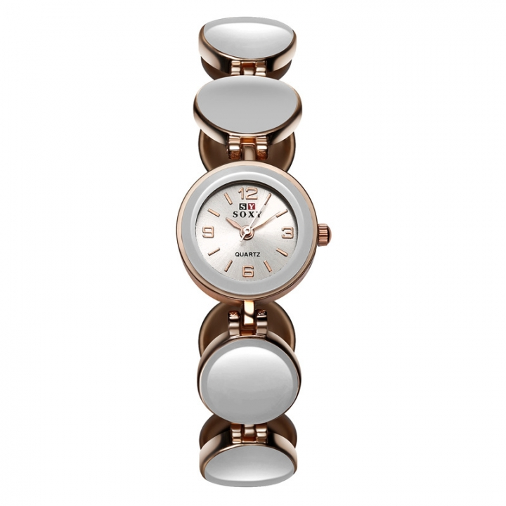 The New Fashion Ms Ceramics Trend Student Simple Watch white