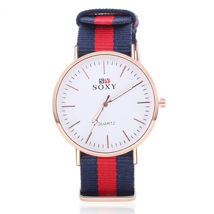 Fashion Men Nylon Belt Upscale Quartz Student Leisure Simple Watch Red cloth belt men