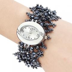 Ms Bead Bracelet Watch Circle Upscale Watch Fashion Gift black