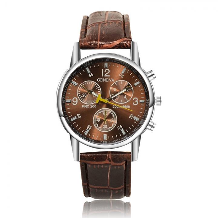 Geneva Men Fashion Belt Watch Creative Business Quartz Watch brown