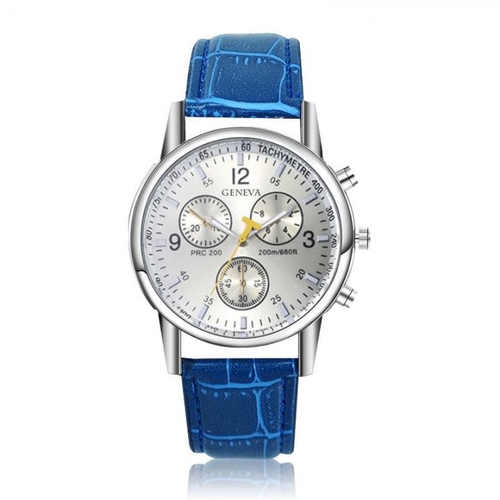 Geneva Men Fashion Belt Watch Creative Business Quartz Watch blue