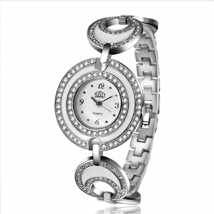 Ms Double Circle Dial With Diamond Bracelet Watch Fashion Student Simple Watch silver