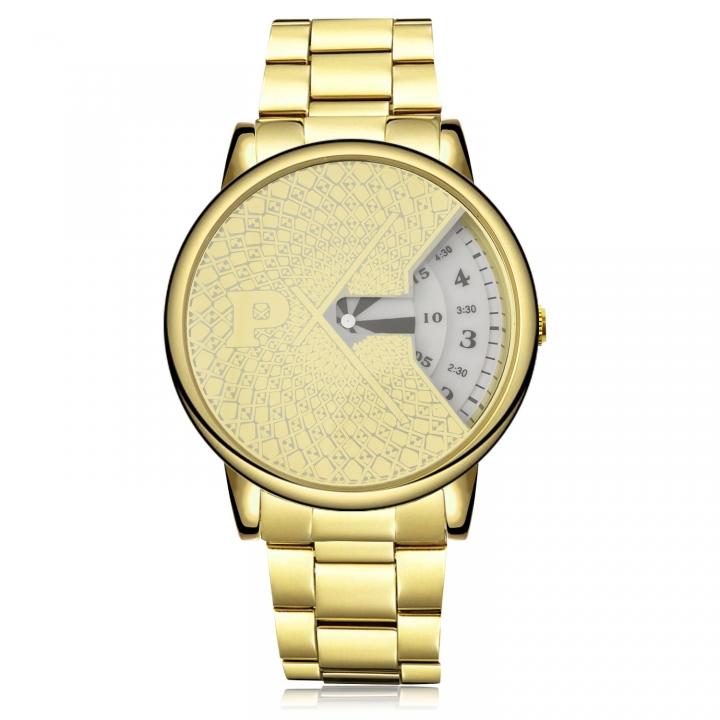 Men Watch Upscale Calendar Turn Dial Simple Student Steel Strip Watch gold white men