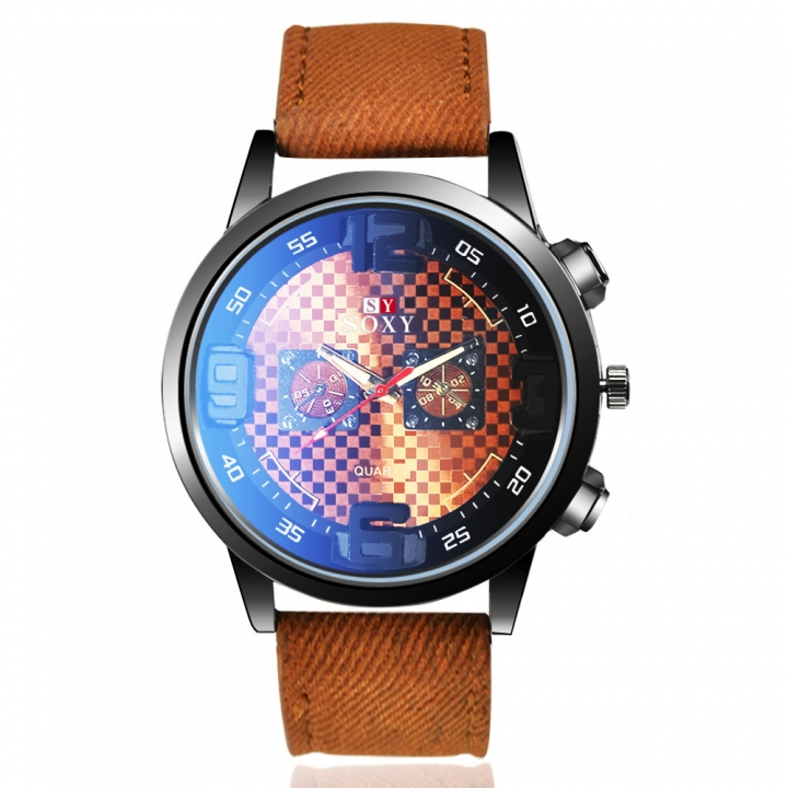 Men Belt Watch Creative Dial Men Leisure Quartz Watch dray brown men