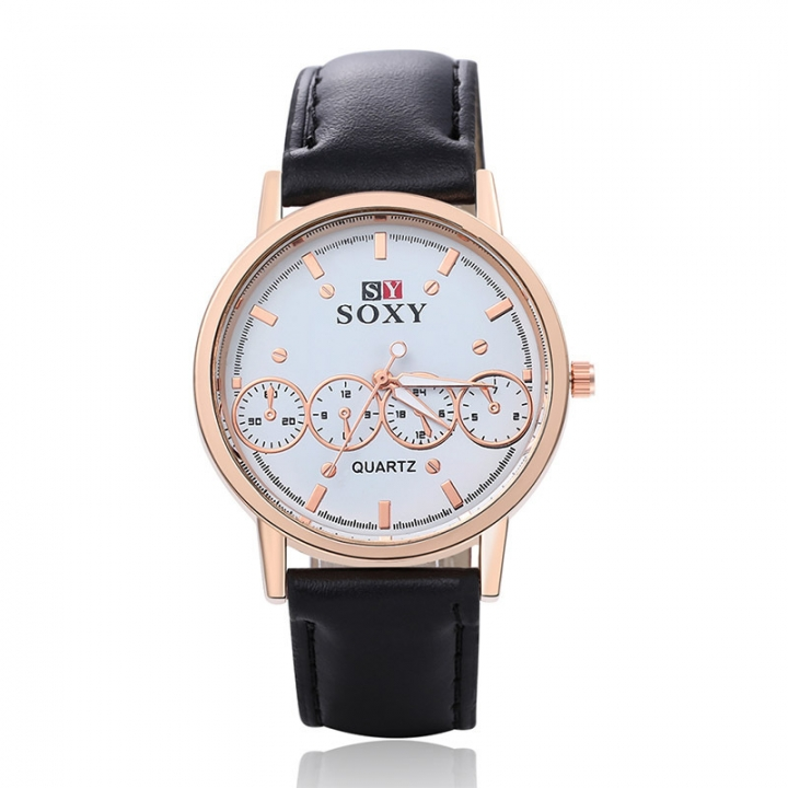 Fashion Watch Ms Belt Upscale Quartz Student Fashion Watch black white men