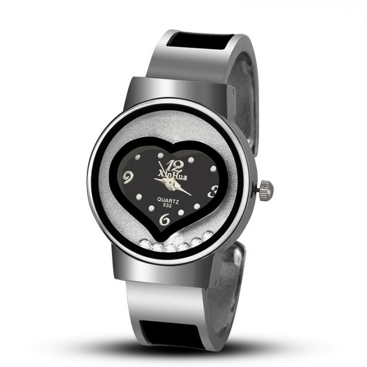 Ms Watch Fashion Heart Dial Bracelet Quartz Watches black